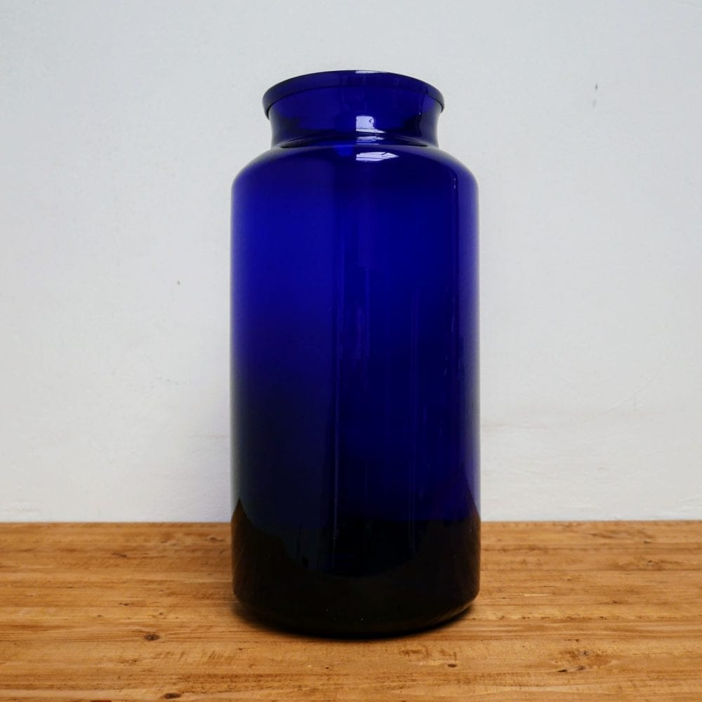 Glazen pot blauw L