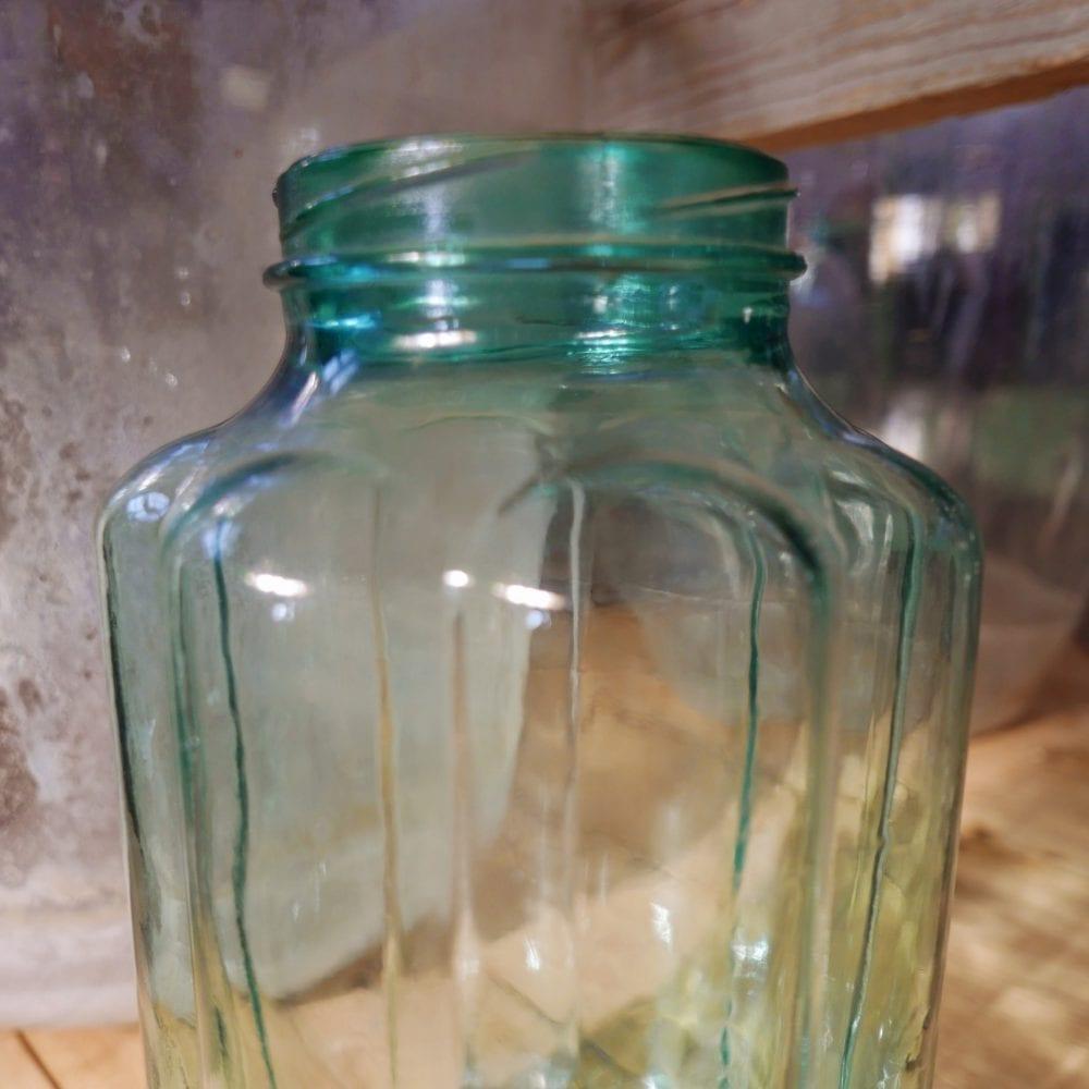 Glazen pot transparant Ribbel M