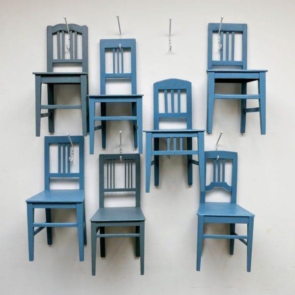Hongaarse houten blauwe stoel