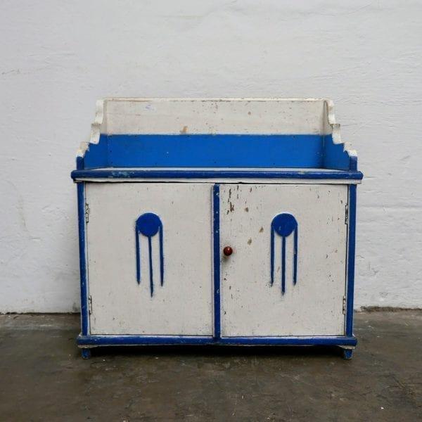Wit blauw houten kastje