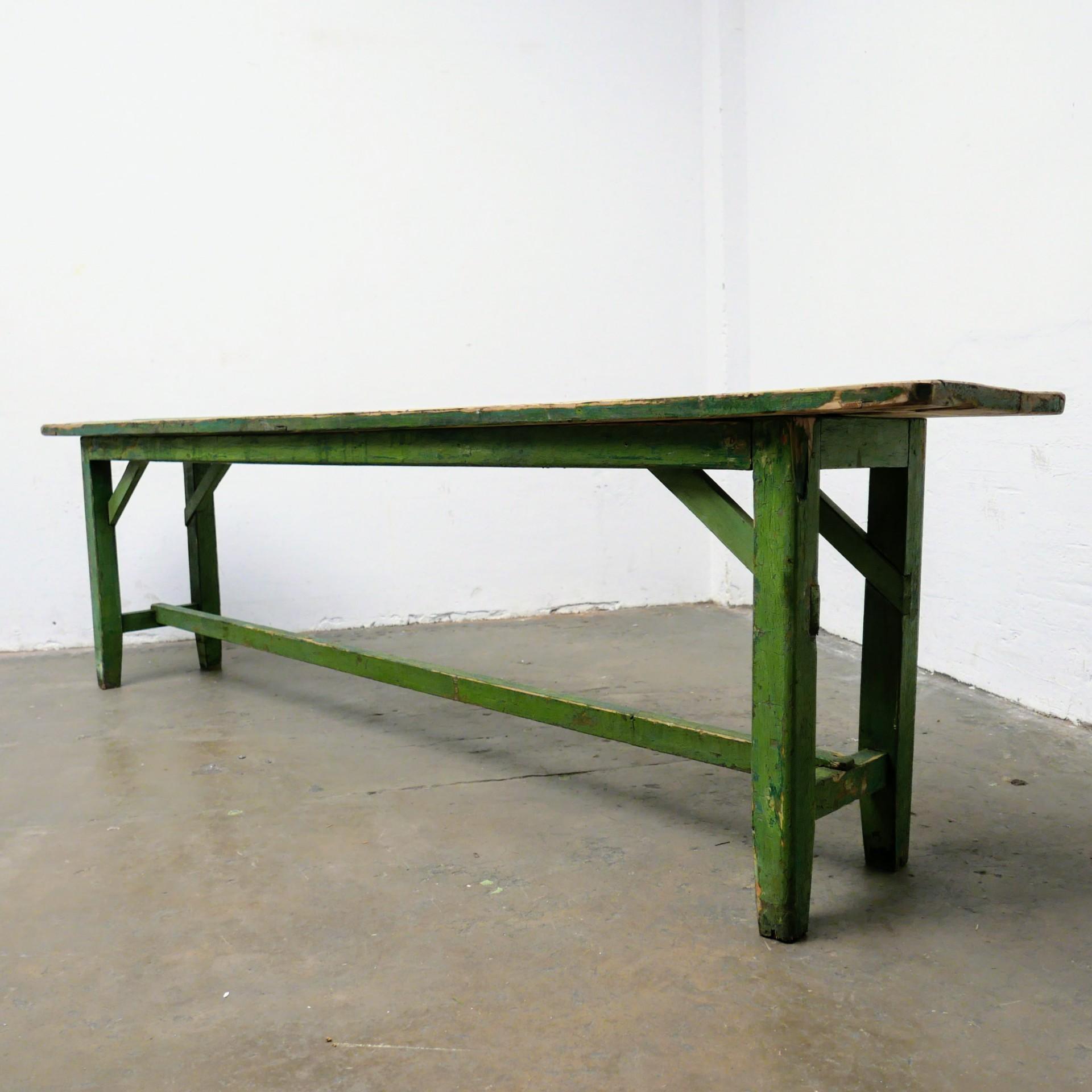 Eettafel Extra Lang.Lange Houten Groene Tafel Van Dijk En Ko