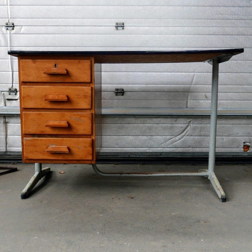 Bureau metaal houten lades