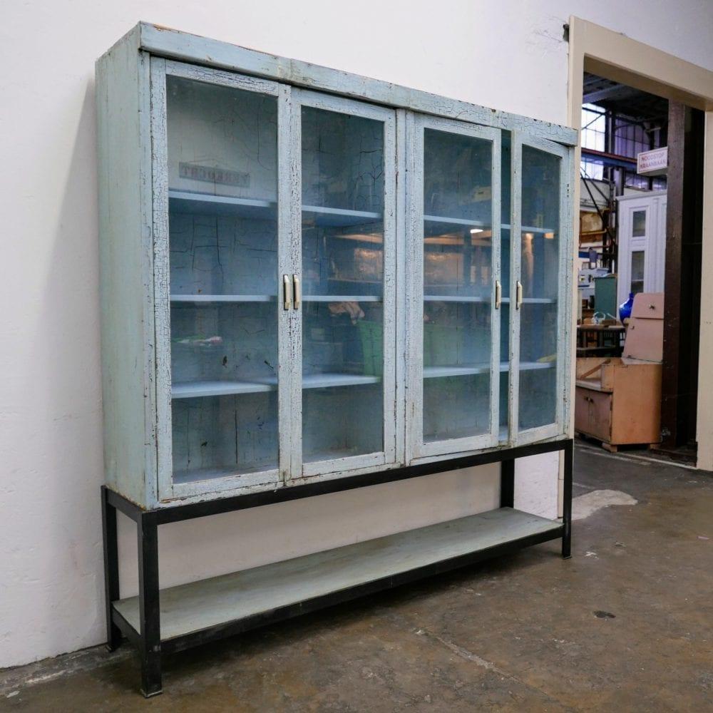 vitrinekast winkelkast blauw