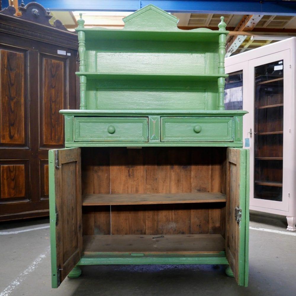 Groene open buffetkast