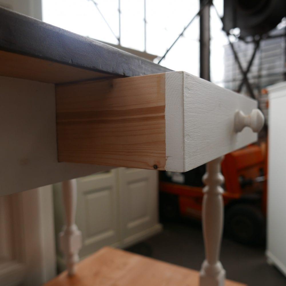houten witte tafel