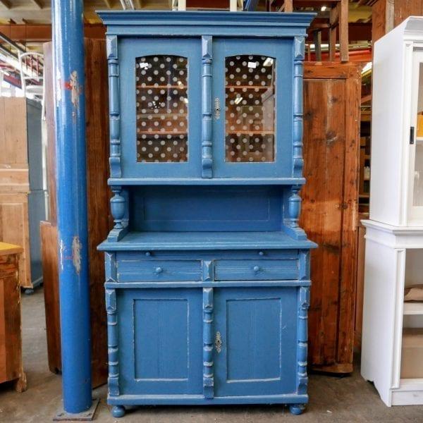 houten blauwe buffetkast