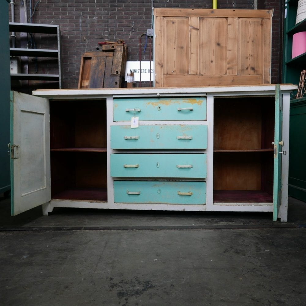Mint-wit houten dressoir