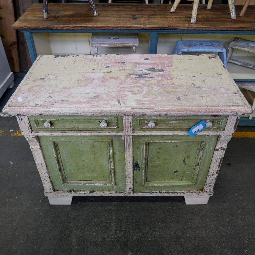 brocante groen-wit kastje