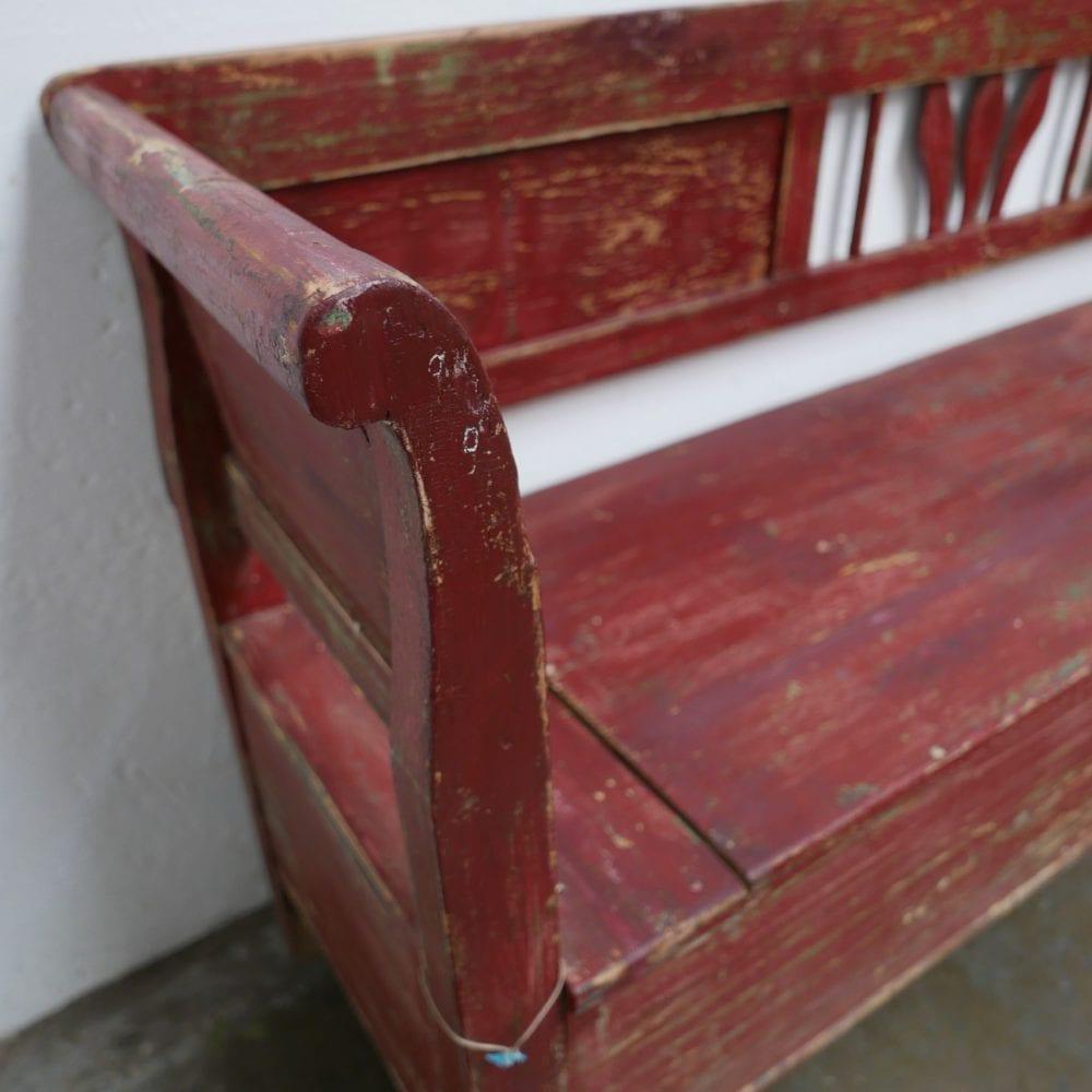 houten roodbruine klepbank