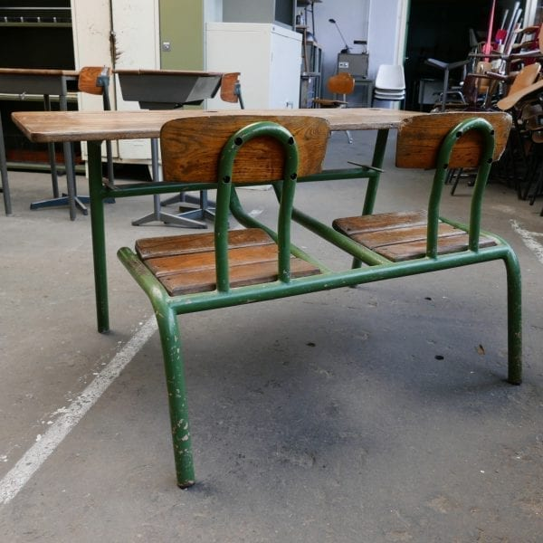vintage metalen schoolbank