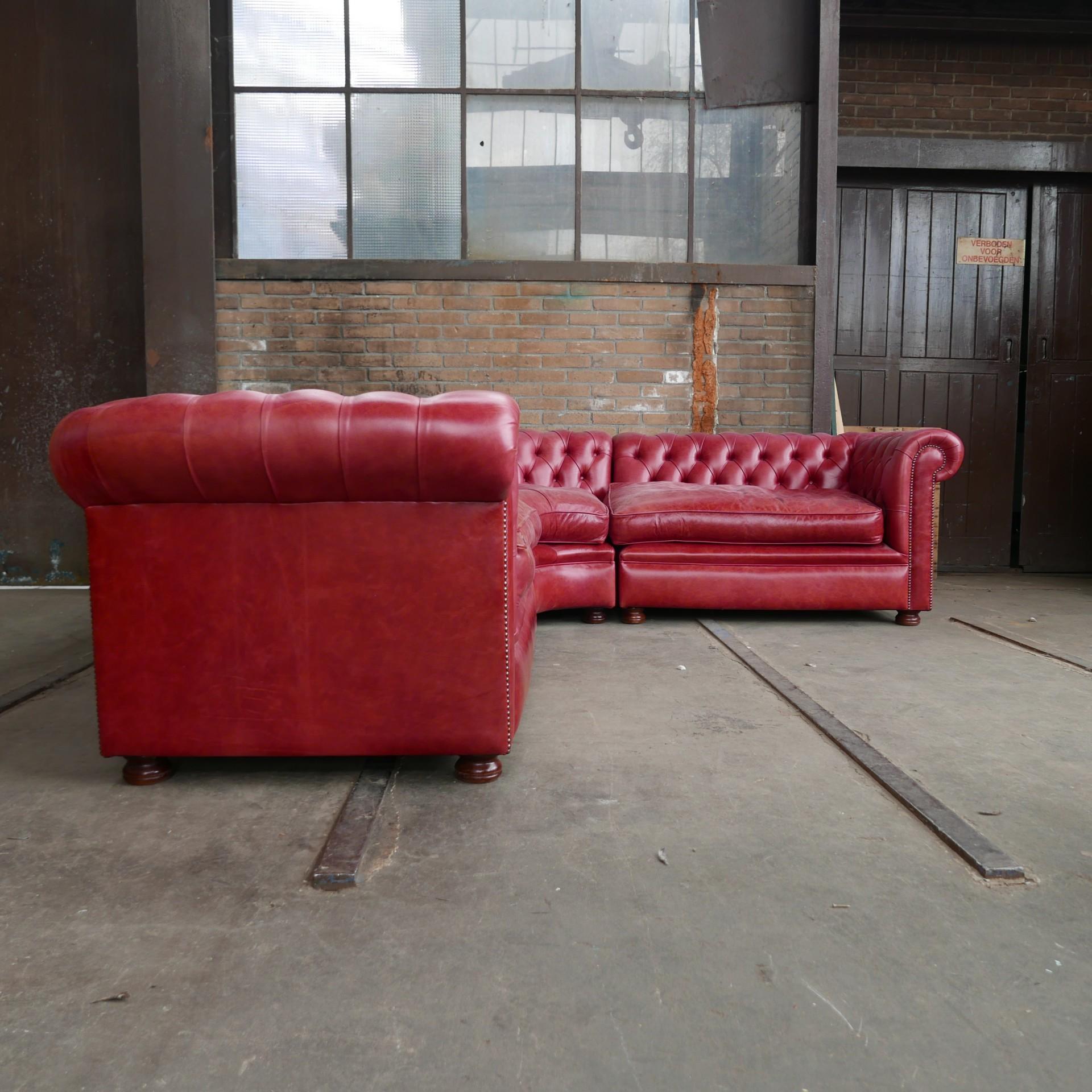 Rode Leren Bank.Vintage Rode Leren Hoekbank