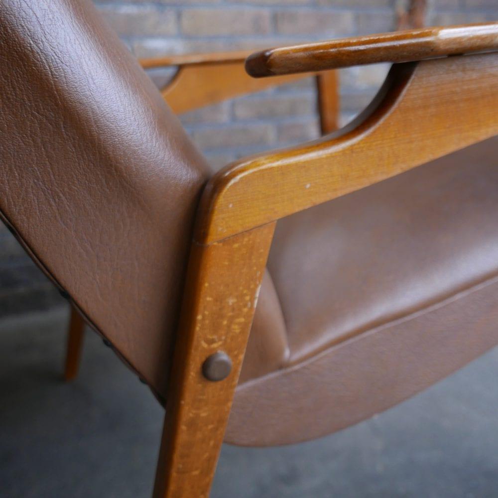 Vintage retro leren stoel