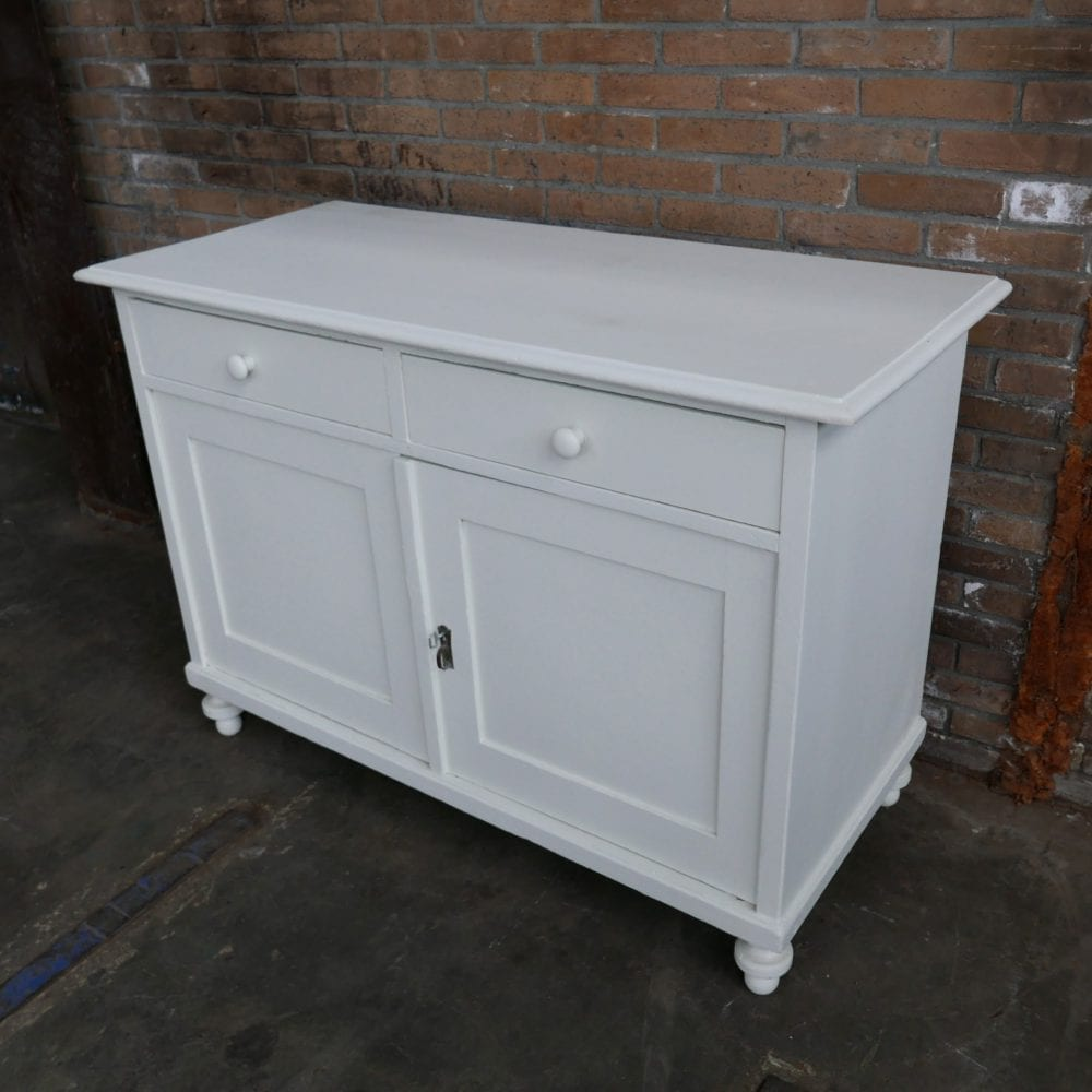 witte houten brocante commode