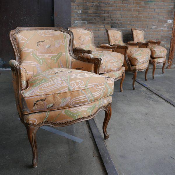 Barok fauteuil met vogelprint