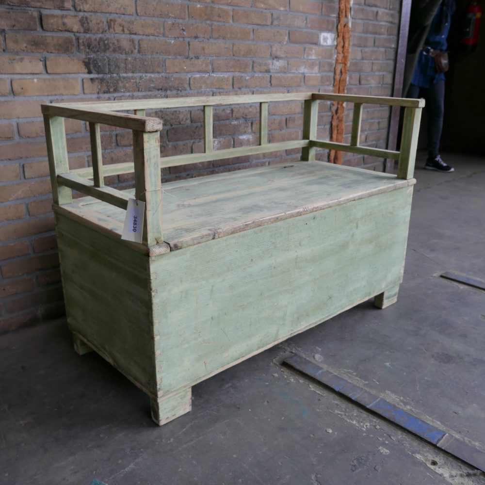 Groene kistbank kinderen