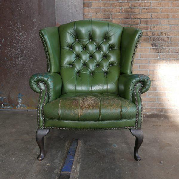 Groen leren fauteuil
