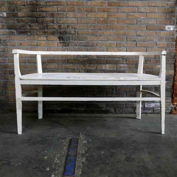 Brocante witte houten bank