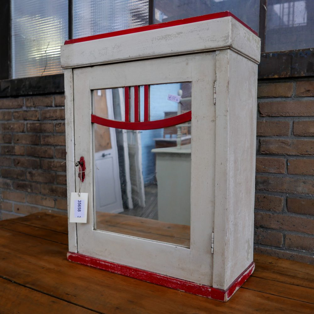 Crème houten spiegel hangkast