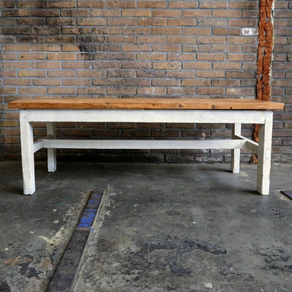 Brocante witte salontafel