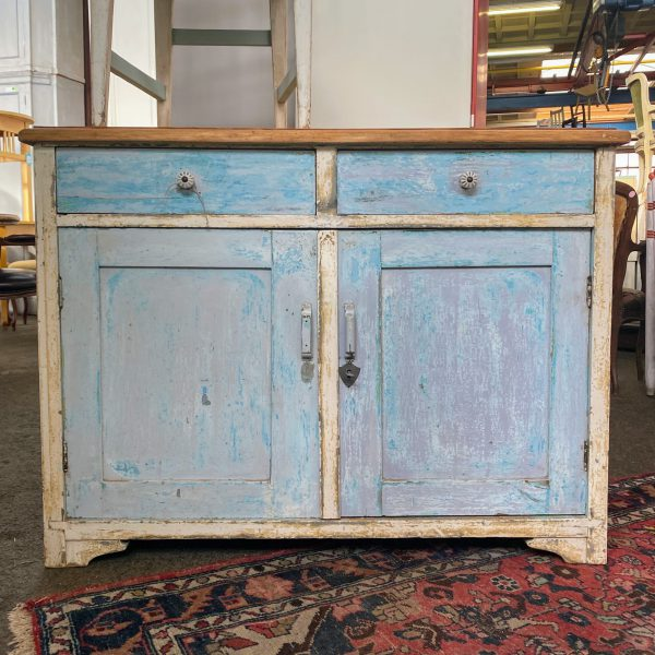 Brocante blauwe commode