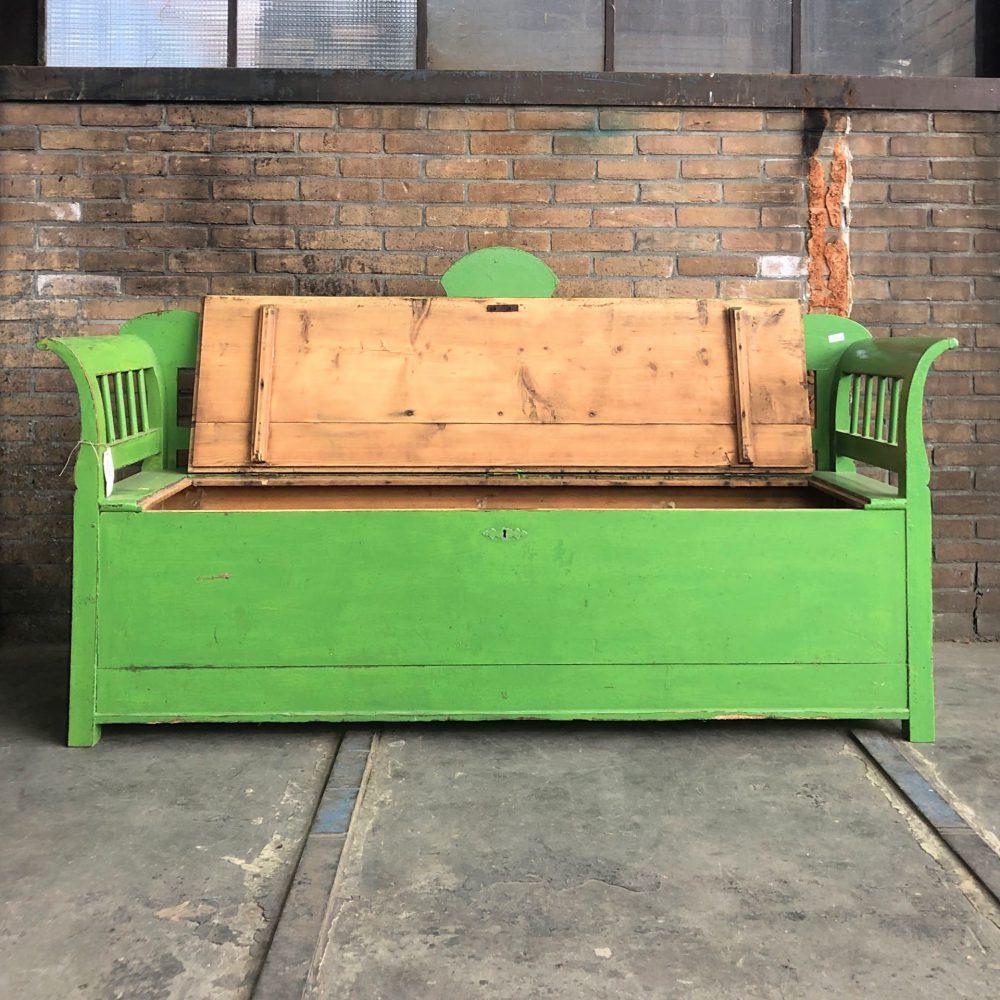 Houten groene klepbank