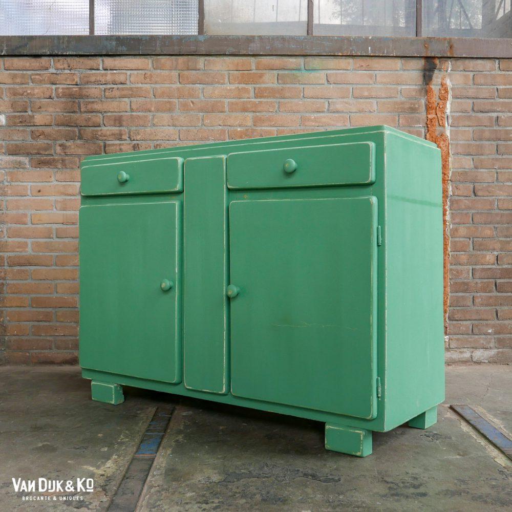 vintage groene ladekast