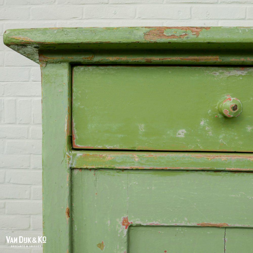 Brocante groene kast