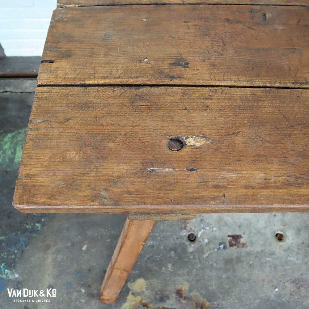 Vintage houten slagerstafel