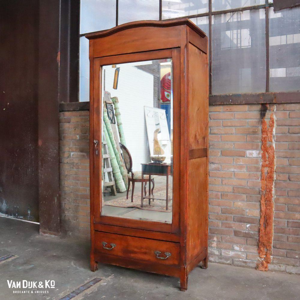 Vintage eendeurskast met spiegel