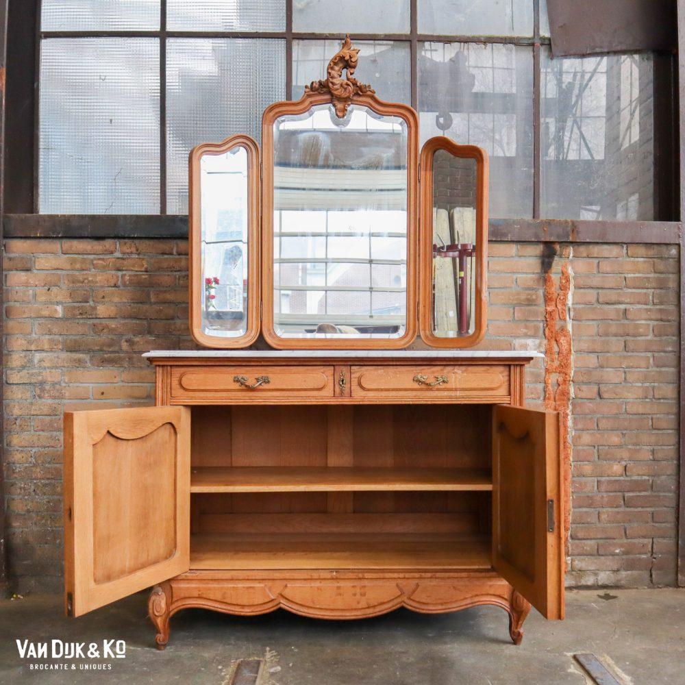 vintage kast met marmeren blad & spiegel
