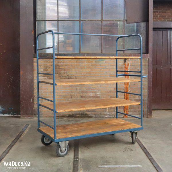 Blauw industrieel rek/trolley