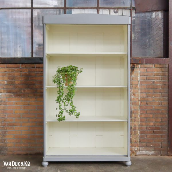 Brocante grijs/witte boekenkast