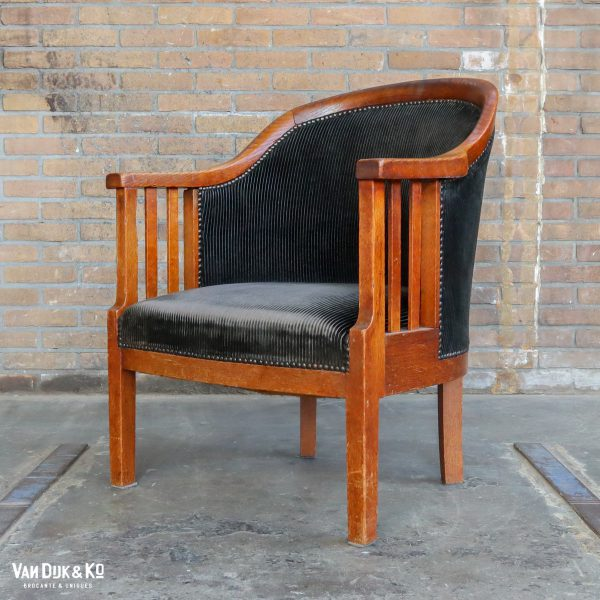 Vintage fauteuil met ribfluwelen zitting
